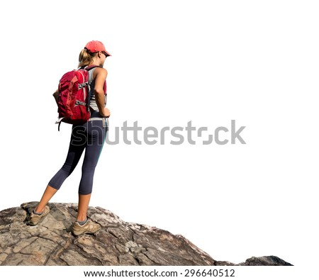 Hiker with backpack standing on the rock isolated on white background - stock photo