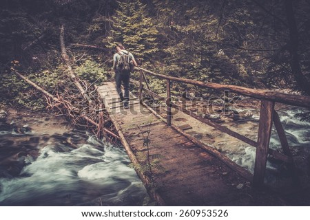 Hiker with hiking poles  walking over wooden bridge in a forest  - stock photo