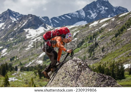 Hikers in Altai mountains, Russia