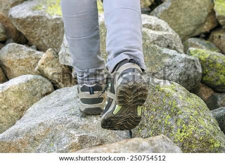hikers legs - stock photo