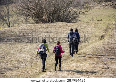 Hikers walking with backpacks in forest - stock photo