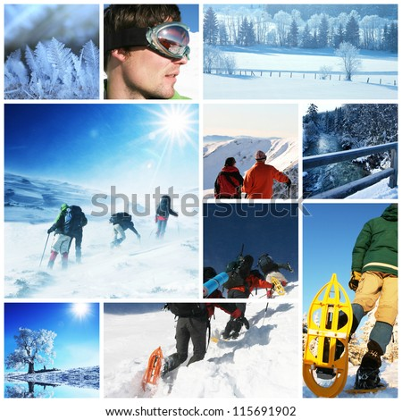 hikers with snowshoes in winter - stock photo