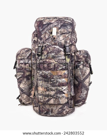 hiking backpack for hunters camouflage with side pockets on a white background. - stock photo