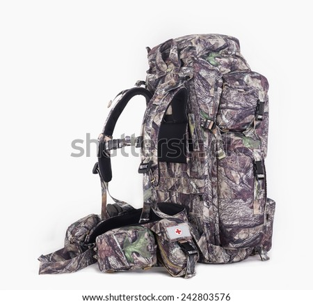 hiking backpack for hunters camouflage with side pockets on a white background. Left side.