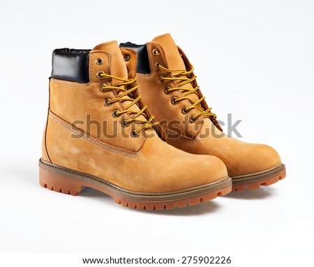 Hiking boots isolated over white with clipping path. - stock photo