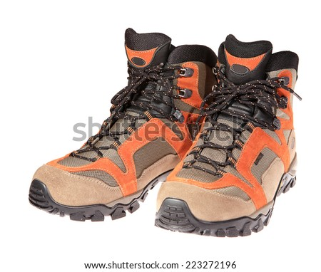 Hiking boots on the white background, isolated - stock photo