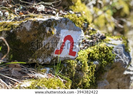 hiking cave sign - stock photo