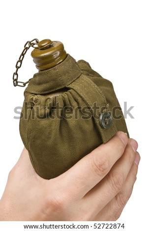 hiking flask in hand isolated on white background