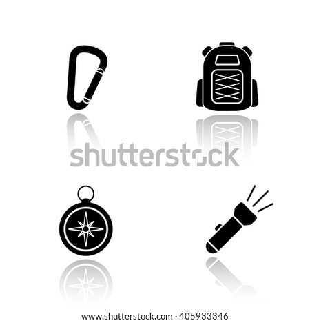 Hiking gear drop shadow icons set. Mountaineering and rock climbing equipment, carabiner lock, tourist backpack, compass, flashlight. Cast shadow logo concepts. Raster black silhouette illustrations - stock photo