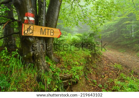 Hiking guide mark  and bike route signboard  on beech three, pointing bike path through foggy forest - stock photo