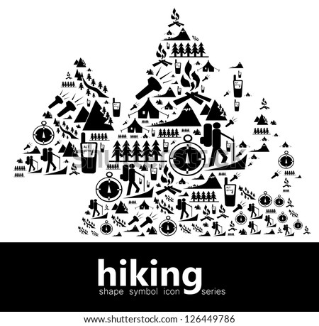Hiking icon symbols composed in the shape of two mountains