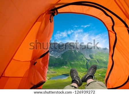 hiking in a mountain - stock photo