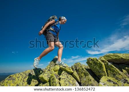 Hiking in Carpathian mountains - stock photo
