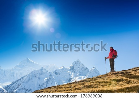 Hiking in Himalaya mountains