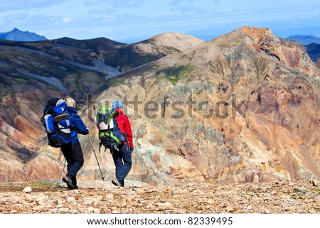 Hiking in the mountains - stock photo