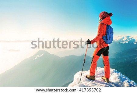 Hiking in the mountains. Active sport concept