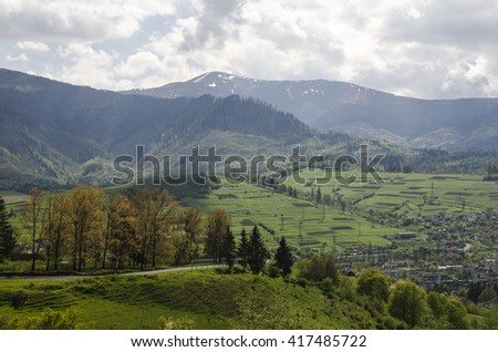 Hiking in the mountains aerial view. Environment protection theme - stock photo