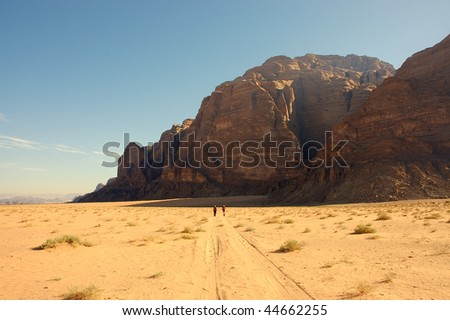 Hiking in Wadi Rum. - stock photo