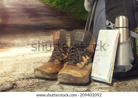 Hiking items,at the outdoor environment.  - stock photo
