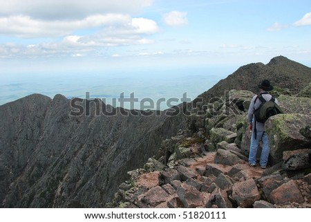 Hiking Knife Edge Ridge Trail, Mt. Katahdin, Baxter State Park, Maine - stock photo