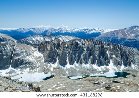 Hiking Mount Whitney, highest summit in California and contiguous USA - stock photo