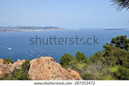 Hiking near Theoule-sur-Mer, French Riviera. View on Cannes and other villages from Point de l'Aiguille, France, Cote d'Azur.