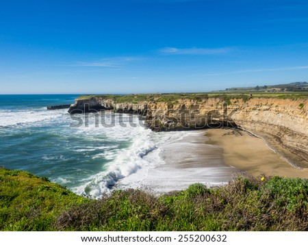 Hiking on a top of seaside bluffs at Wilder Ranch State Park in Santa Cruz, CA - stock photo