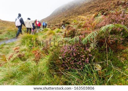 Hiking on Diamond Hill  in Connemara, west of Ireland - stock photo