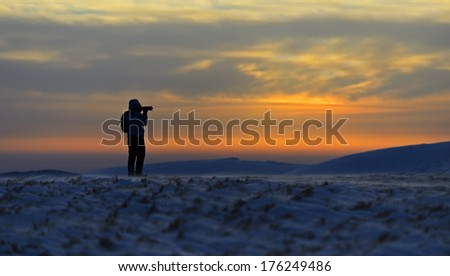 Hiking on mountain tops in winter