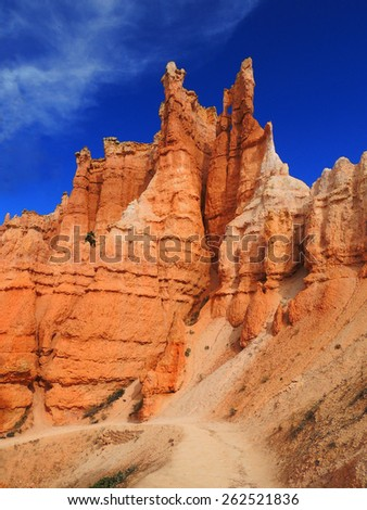 hiking on the queen's garden trail in bryce canyon national park, utah  - stock photo