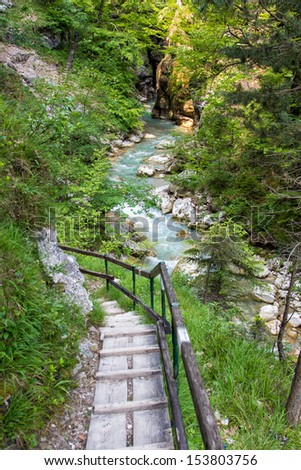 Hiking path in the Austria, Tscheppaschlucht, Carinthia - stock photo