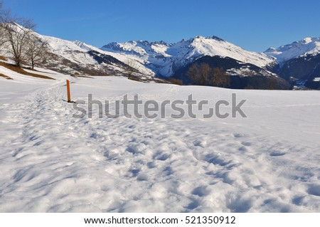 hiking path under the snow in mountain