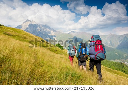 Hiking team. travel sport lifestyle concept - stock photo