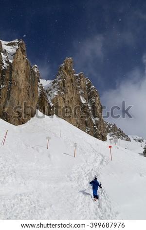 Hiking the head wall at Jackson Hole - stock photo