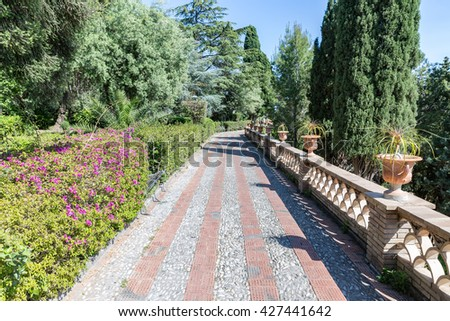 Hiking trail in botanic gardens of Taormina at the Sicilian island, Italy
