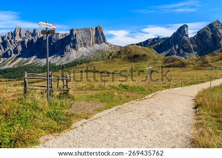 Hiking trail in Dolomites Mountains near Passo Giau, South Tyrol, Italy - stock photo