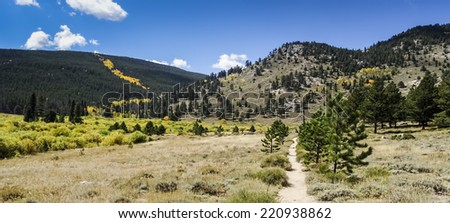 Hiking Trail In Rocky Mountain National Park Colorado - stock photo