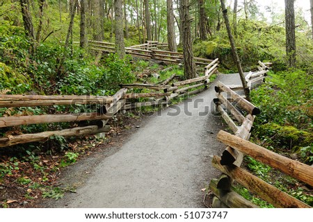 hiking trail in thetis lake regional park, vancouver island, british columbia canada - stock photo