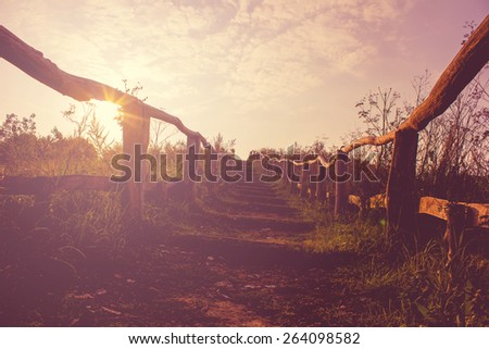 Hiking Trail in Vintage Style - stock photo