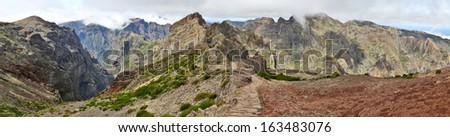 Hiking Trail near Pico do Arieiro (Madeira, Portugal) - HDR-Panorama - stock photo