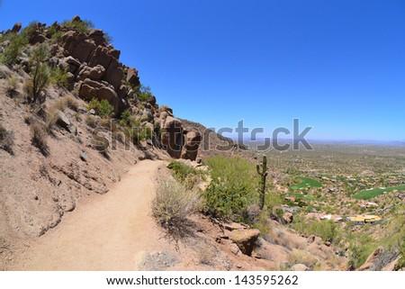 Hiking Trail on Pinnacle Peak Mountain in Scottsdale, Arizona - stock photo