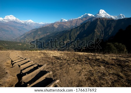 Hiking Trail on the Poon Hill Circuit, Nepal - stock photo