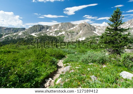 Hiking trail through the wilderness of the Colorado Rocky Mountains - stock photo