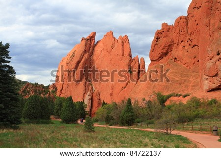 Hiking trail through unusual rock formations in Garden of Gods, Colorado, USA - stock photo