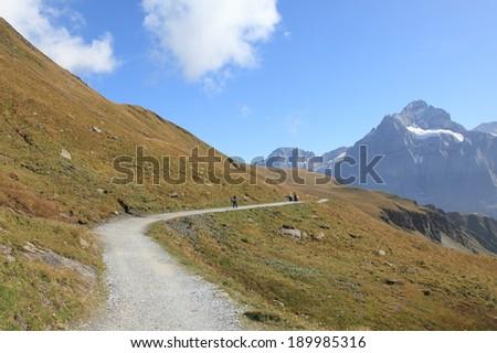 hiking trail to Jungfraujoch Swiss Alps - stock photo