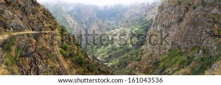 Hiking trail to the village of Curral das Freiras - Valley of the Nuns (Madeira, Portugal) - panoramic view - stock photo