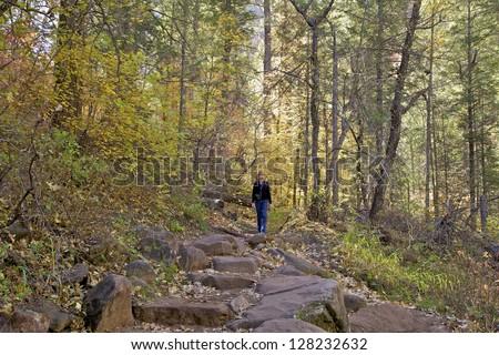 Hiking West Fork Oak Creek Sedona Arizona in Fall - stock photo
