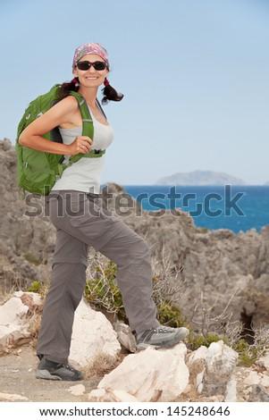 Hiking woman - stock photo