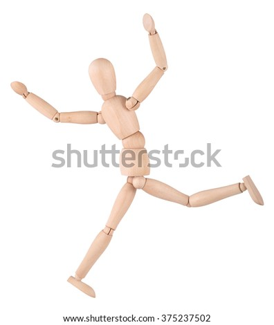 Hilarious man - wooden ball-jointed doll, isolated on white background