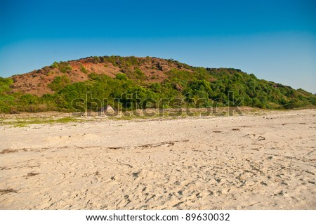 Hill at coast in India - stock photo